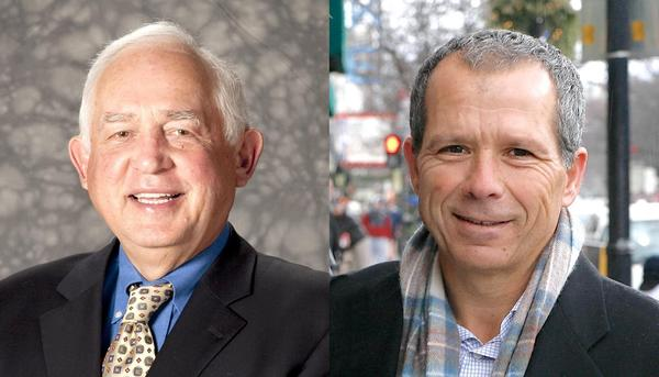 Oak Park Trustee John Hedges, left, and business owner Anan Abu-Taleb are running for village president. Current Village President David Pope is not seeking a third term.