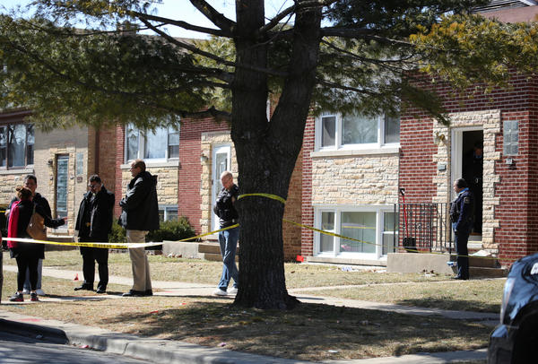Police on the scene at a Berwyn home in which a man was shot in the face during a Tuesday home invasion.