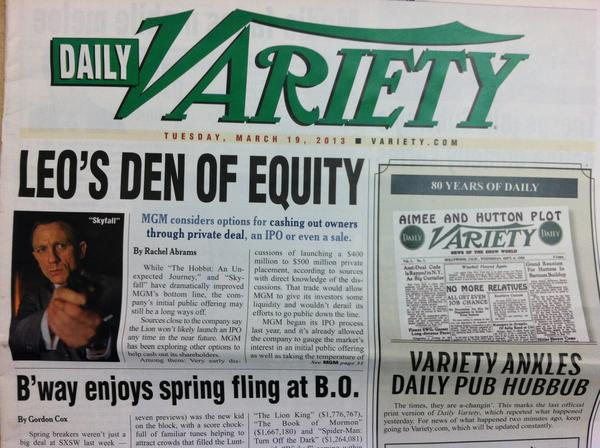 Daily Variety ends its print publication today.