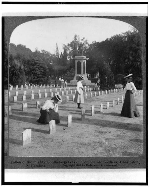 The graves of Confederate soldiers in Charleston, S.C. Two children of Civil War veterans are still receiving survivor benefits.