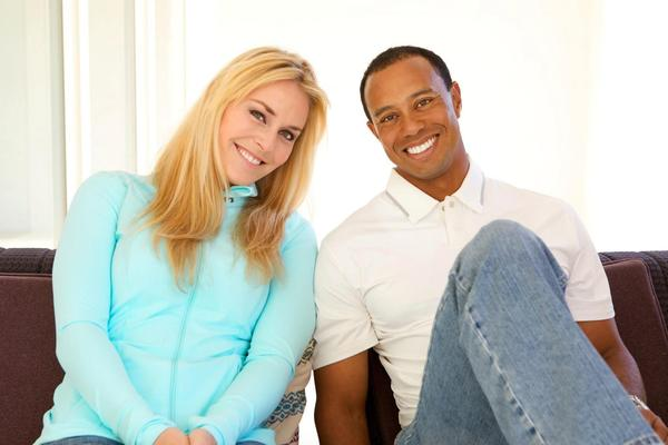 Lindsey Vonn and Tiger Woods in a photo they released Monday.