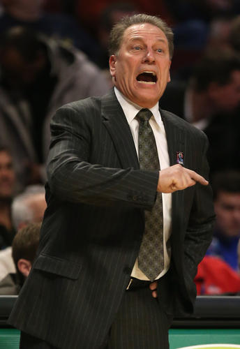 He's probably just calling a play, but Tom Izzo's mouth also probably couldn't get wider. <i>-- All captions by Jordan Bartel, b</i>