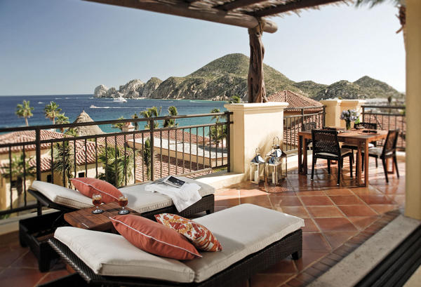 Patio views of the water from Hacienda Beach Club & Residences in Cabo San Lucas.