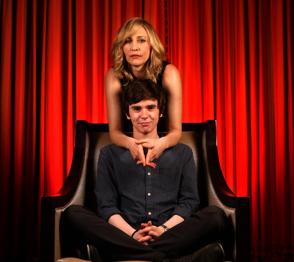 "Freddie Highmore and Vera Farmiga star in the new A&E series, ""Bates Motel,"" a prequel to the movie ""Psycho."""