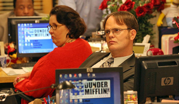 "Phyllis Smith and Rainn Wilson in ""The Office."" The last episode, a two-parter, airs May 16."