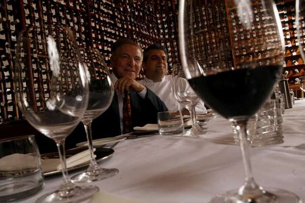 Owner Piero Selvaggio, left, and chef Nicolo Chessa in the wine cellar at Valentino restaurant in Santa Monica.