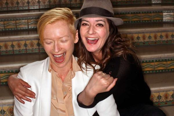 "Scottish director Lynne Ramsay, right, with actress Tilda Swinton during a promotional tour for the film ""We Need to Talk About Kevin."" (Genaro Molina/Los Angeles Times)"