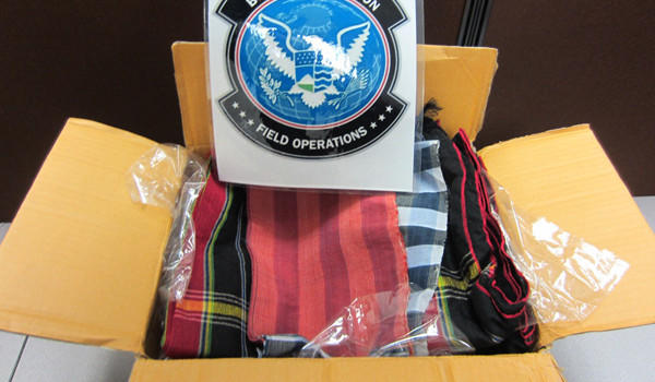 Some of the opium-soaked cloths U.S. Customs and Border Protection dog Shadow found at an O'Hare mail facility on Monday. U.S. CBP photo