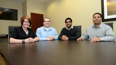 Four members of the Somerset Interchange Lodging Association met on Tuesday in Somerset. They are Jessica Zimmerman, Holiday Inn Express, Larry Gawel, Quality Inn, Vikash Patel, Holiday Inn Express, Bhupinder Singh, Days Inn.