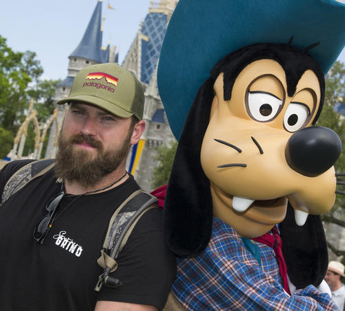"Zac Brown, singer/songwriter for the Grammy Award-winning Zac Brown Band, with Goofy at Magic Kingdom on March 18, 2013. Zac Brown Band won the Grammy for best country album for their latest release, ""Uncaged."""