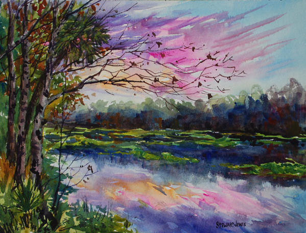 """Wekiva Sunset"" by Stewart Jones is on view at Gallery on First."