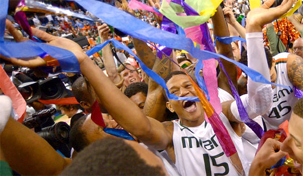 Rion Brown celebrates after Miami's 87-77 win over North Carolina in the Atlantic Coast Conference tournament championship.