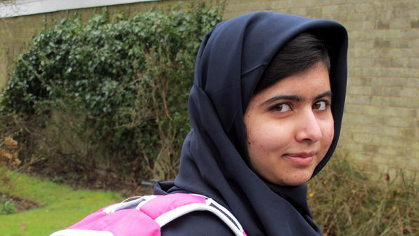 Malala Yousafzai, the Pakistani schoolgirl shot in the head by the Taliban, heads to her first day of school in Birmingham, England.