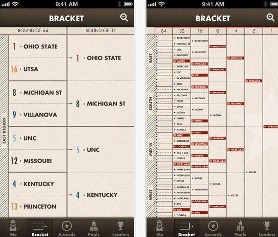 Simple Bracket, an iPhone, iPod Touch and iPad app, strips away ads and flashy graphics to focus on March Madness brackets.