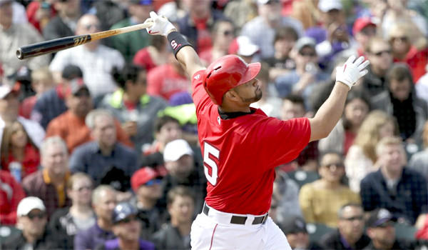 Albert Pujols saw his first action on defense for the Angels in spring training in a 6-1 loss to the Milwaukee Brewers.