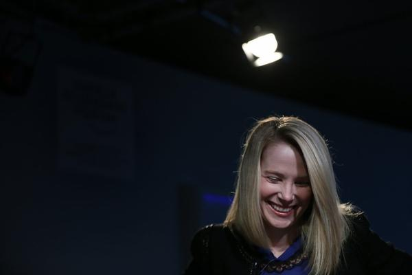 Marissa Mayer, CEO of Yahoo, seen here during a panel discussion in January at the World Economic Forum in Davos, Switzerland.