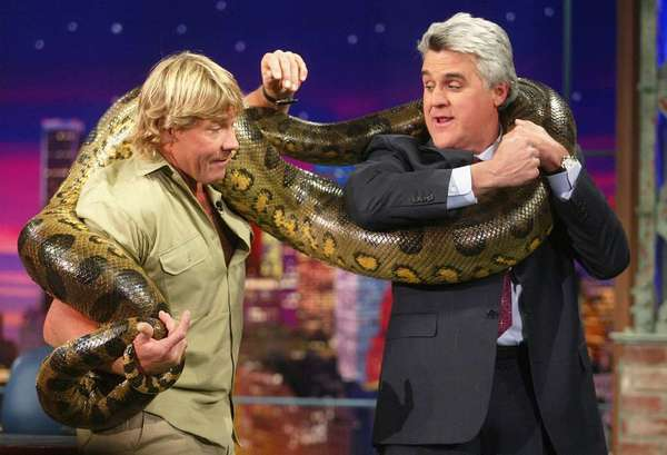"Jay Leno (here in 2003 with the late Steve Irwin) has joked that NBC bosses are ""snakes."""