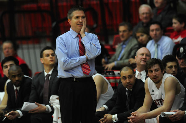 University of Hartford head coach John Gallagher looks on during game action of the first half. The University of Hartford lost to Rider University in the first round of the CollegeInsider.com Postseason Tournament, CIT, played at the University of Hartford by a score of 63 to 54.