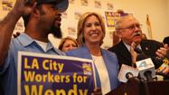 The long-running love-in between Wendy Greuel and public employee unions continued Tuesday, with the mayoral candidate from the San Fernando Valley bagging an endorsement from the powerful Los Angeles County Federation of Labor.