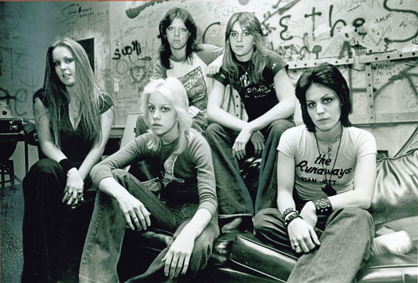 <b>THE REALITY:</b> The Runaways' Lita Ford, left, Cherie Currie, Jackie Fox, Sandy West and Joan Jett in the dressing room of the Whisky in 1977.