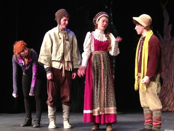 "Rehearsing for the Petoskey High School production of ""Into the Woods,"" are (from left) Jana Tahtinen as Cow, Quentin Fettig as Jack, Chandler Cummings as the baker's wife, and Christian Wilder as the baker."