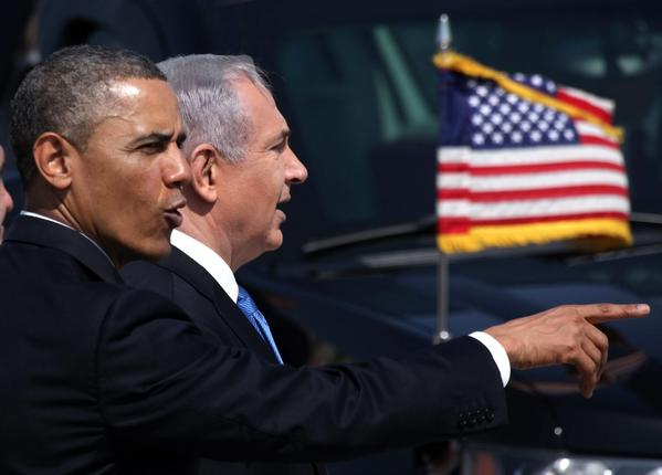 President Obama and Israeli Prime Minister Benjamin Netanyahu during an arrival ceremony Wednesday for the U.S. leader at Ben Gurion Airport in Israel.