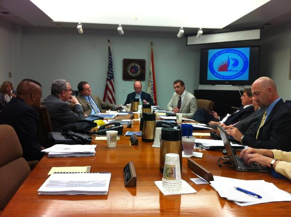 Newly elected Fort Lauderdale Commissioner Dean Trantalis, center right, speaks Tuesday at his first meeting back on the commission since he last served in 2006.