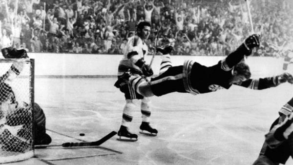 Bobby Orr after scoring the Stanley Cup winning goal in 1970