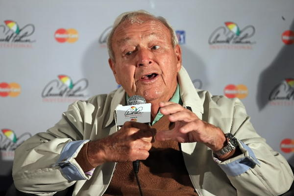 Arnold Palmer addresses the media on Wednesday during pro-am day at the 2013 Arnold Palmer Invitational Presented by Mastercard at Bay Hill Golf and Country Club