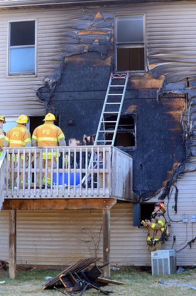Firefighters quickly put out a fire Wednesday morning that damaged a duplex at 142 Harvard Road in Hagerstown.