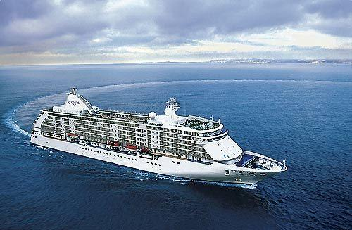 The Regent Seven Seas Voyager sails out of Port Everglades.