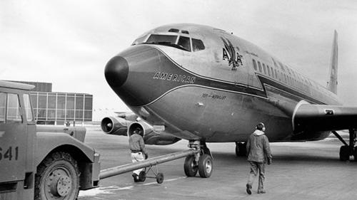 BOEING 707: The 707 pushed the U.S. into the jet age on July 15, 1954, when a prototype took off from Renton Field outside Seattle for its maiden flight. A 707 made the first trans-Atlantic commercial flight on Oct. 26, 1958, a 13-hour PanAm flight between New York and Paris. The 707 was also the original Air Force One, carrying seven sitting presidents. Above, a truck gives a Boeing 707 a push at O'Hare on March 24, 1963.