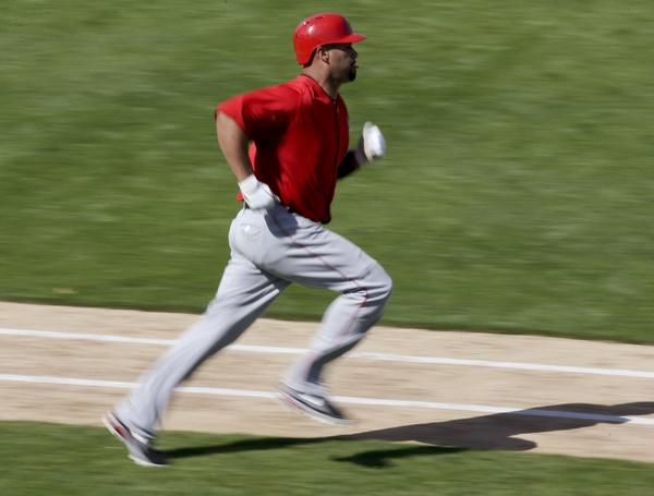 Albert Pujols says the plantar fasciitis in his left foot can flare up at any time.