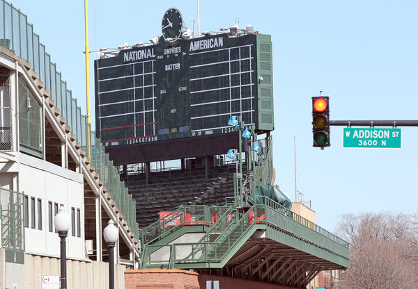 The scoreboard at Wrigley Field.