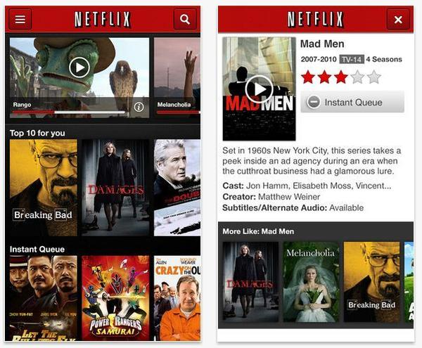 "Although you'll need a subscription to get any value out of this app, Netflix is the most popular TV and movie streaming app. Users can easily access their Netflix Instant Queue and watch their favorite TV shows and movies on the go. Although Netflix doesn't have every single show or movie, its vast catalog has made it a popular choice. It also doesn't hurt that Netflix has begun to make its own content, notably the critically praised drama ""House of Cards."""
