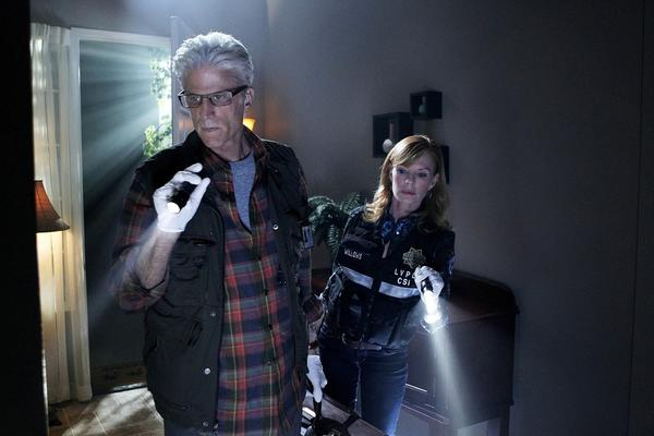 "Ted Danson and Marg Helgenberger in ""CSI: Crime Scene."""