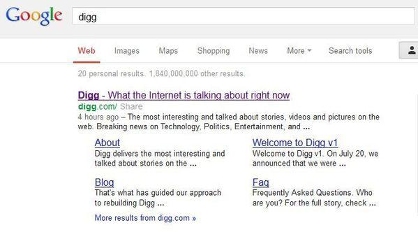 Digg is back in Google search results after having been accidentally removed Wednesday morning.