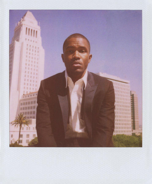 Singer and songwriter Frank Ocean was photographed at the Los Angeles Times building for the Band of Outsiders spring-summer 2013 campaign. City Hall is in the background.