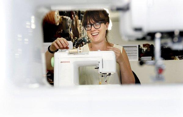 Jenny Walton-Wetzel, 31, of Los Angeles takes a beginning sewing class at Mood Designer Fabrics in Los Angeles.
