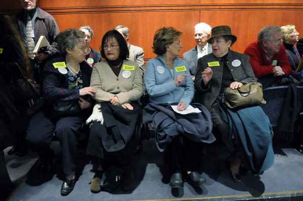 Una Woods, of West Hartford, Isabel Lucco, of West Hartford, Sheila Keenan, of Hartford, and Patricia Conran, also of Hartford, (l-r)  chat before the start of a hearing before the Public Health Committee on a proposed bill that would allow doctor-assisted suicide, at the LOB.  The women all oppose the legislation.
