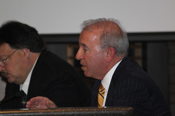 City Manager Tom Thanas speaks Tuesday at the Joliet City Council.