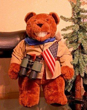A teddy bear decked out like Teddy Roosevelt is on display at the Teddy Bear Museum of the Sierra, which opens Friday.