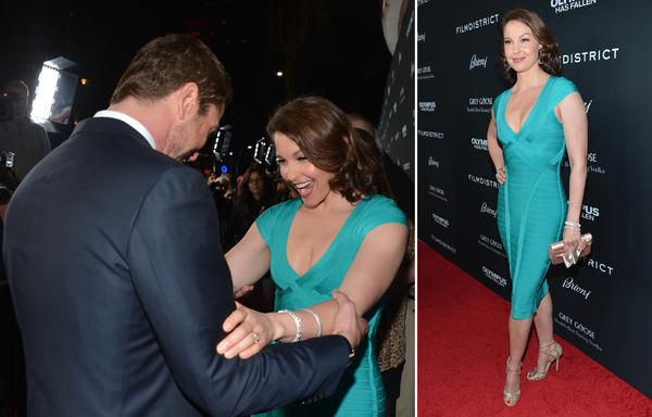 "Ashley Judd's dress wows at ""Olympus Has Fallen"" premiere."