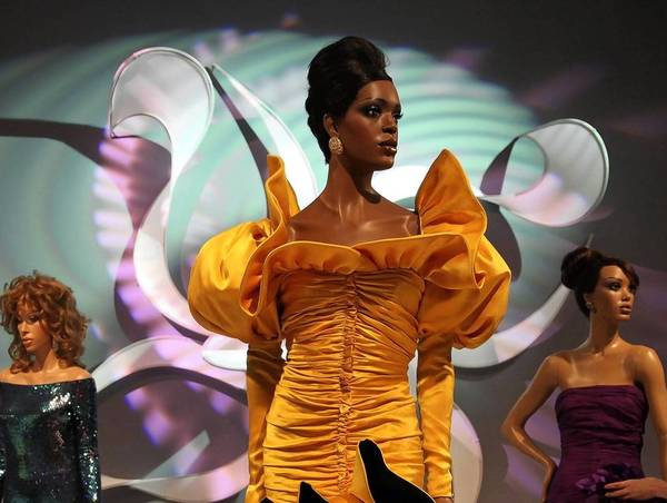 "The exhibit ""Inspiring Beauty: 50 Years of Ebony Fashion Fair"" at Chicago History Museum."
