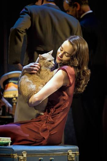 "Emilia Clarke and Vito in a scene from ""Breakfast at Tiffany's"" on Broadway."
