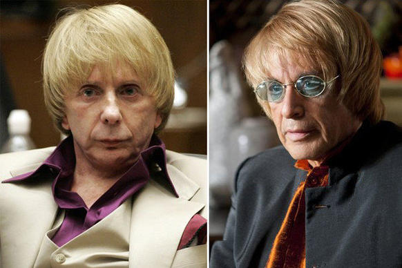 "Phil Spector, left, pictured during his trial, and Al Pacino playing him in HBO's ""Phil Spector."""
