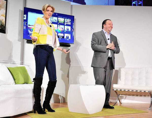 Model Kate Upton helps Joe Stinziano, Samsung Electronics America's executive vice president, announce Samsung's 2013 line of televisions at a launch event in New York.