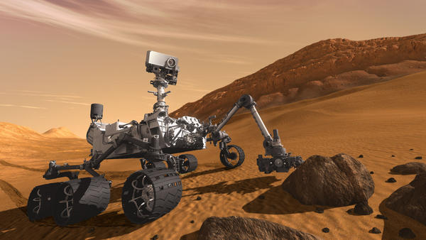 The Mars Rover Curiosity, seen in an artist's rendering, recently discovered through analysis of material that was formerly mud at the base of an ancient lake that conditions had once been conducive to life on the Red Planet.