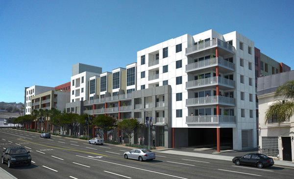 The Huxley apartment and retail complex is under construction at La Brea and Fountain avenues in West Hollywood.