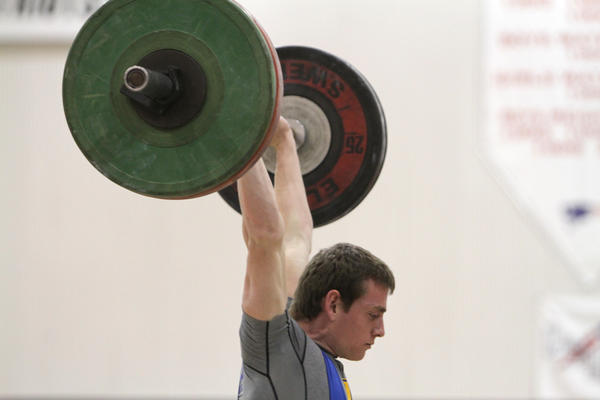 Lyman High School's Tyler Madewell performs in the clean and jerk during the Seminole Athletic Conference weightlifting meet at Lake Brantley High School in Altamonte Springs, Fla. Wednesday, March 20, 2013. (Gary W. Green/Orlando Sentinel)